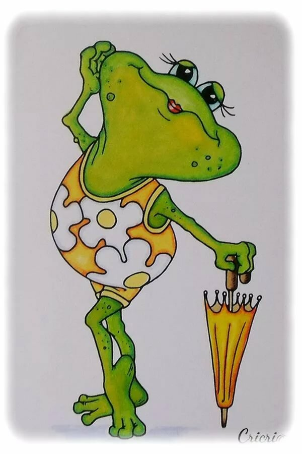 прошла рисунок смешного лягушонка самых