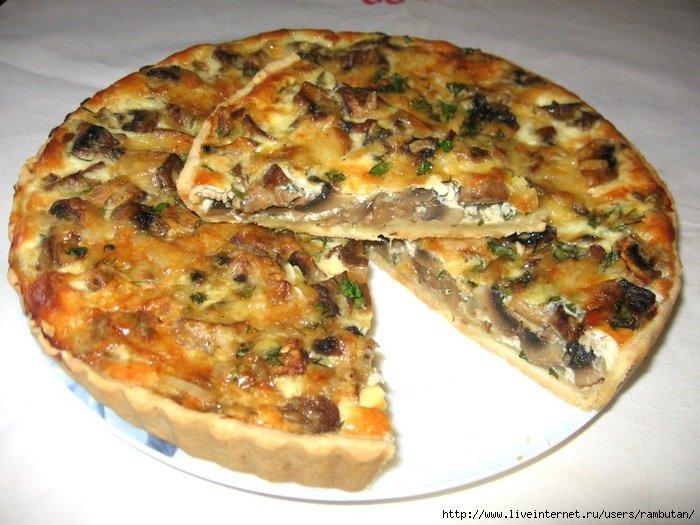 «аливной пирог с солеными грибами