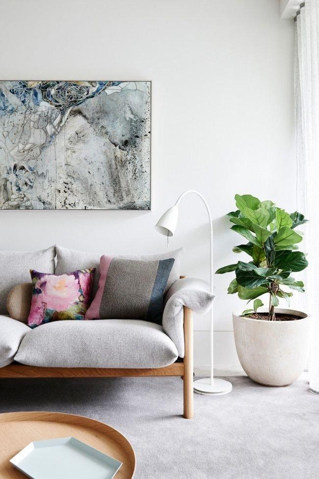 Растение оживляет интерьер серой гостиной