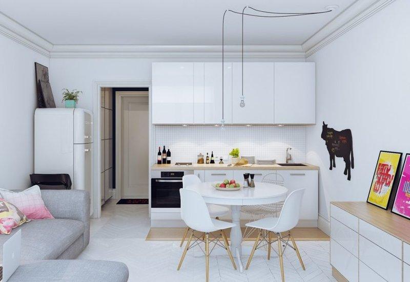 Планировка кухни совмещенной с гостиной
