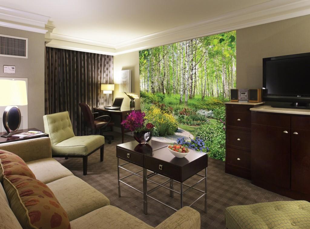 интерьер гостиной с фотообоями в квартире фото