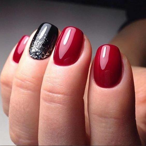 Маникюр красный и черный