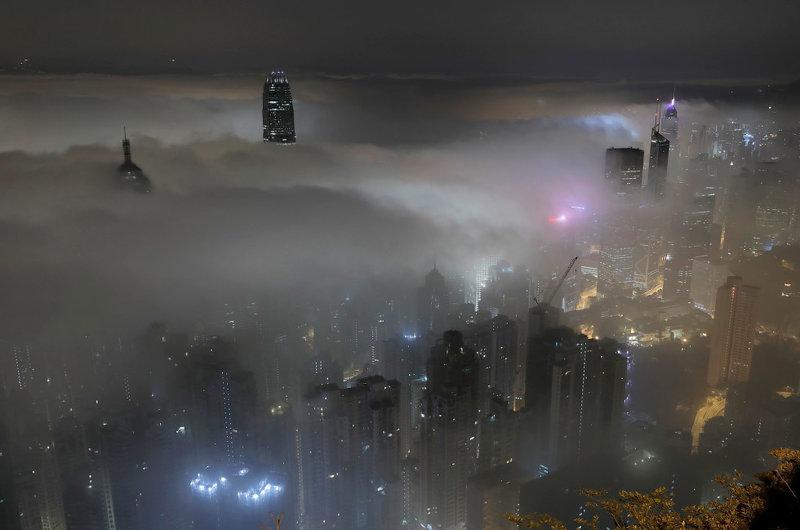 пейзаж тумана сверху