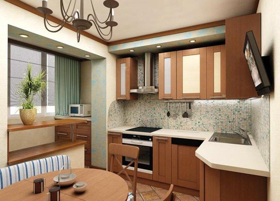 """Небольшая кухня в сетлых оттенках совмещенная с балконом """" -."""