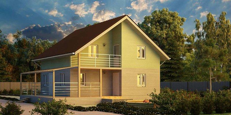 Каркасный дом с балконом и угловой террасой, проект 115/203.