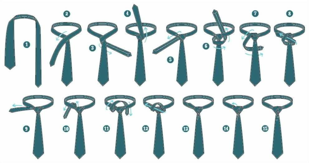 схема завязки галстука фото