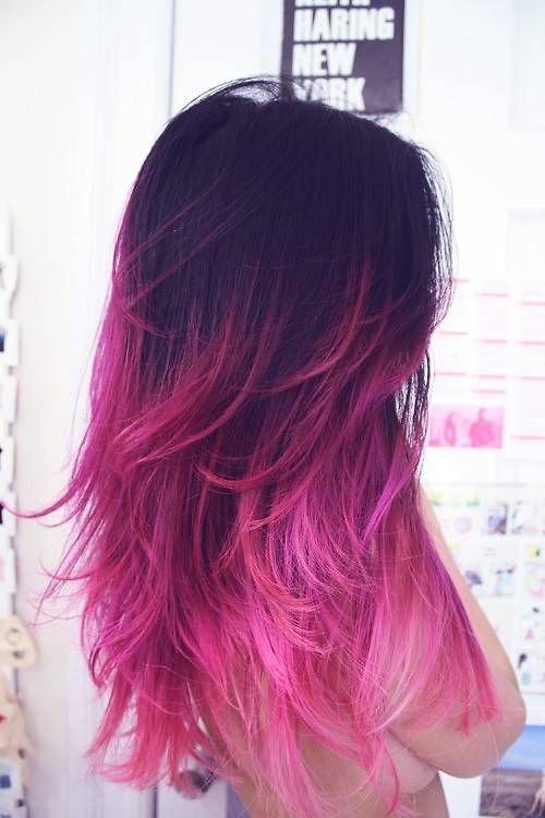 Балаяж розовый на черном