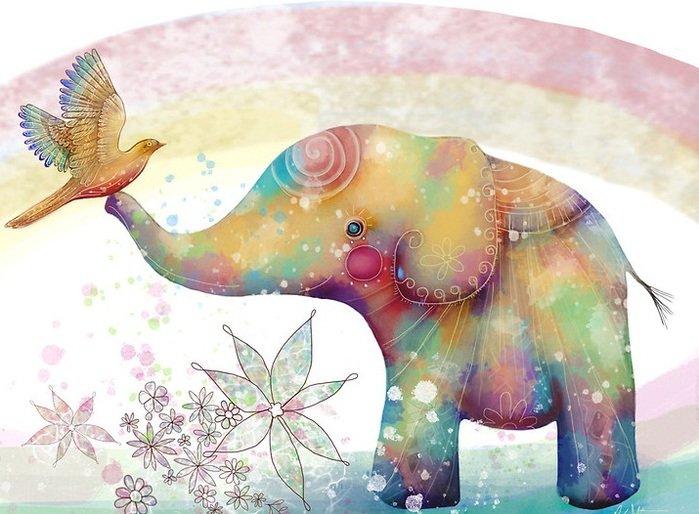 Открытка со слоном доброе утро, поздравлением коллегам