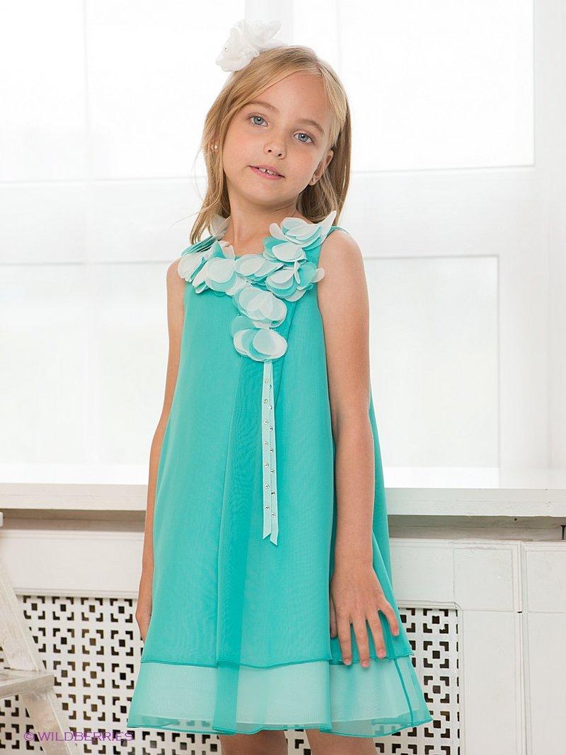 нарядное платье берюзового цвета для девочки