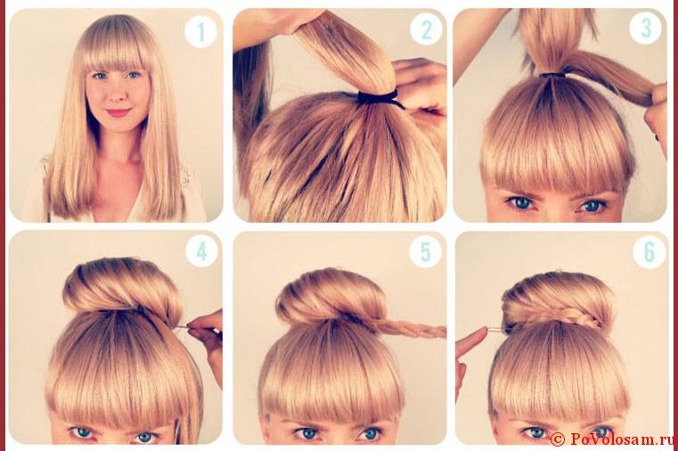 Красивые и простые причёски с чёлкой на средние волосы фото
