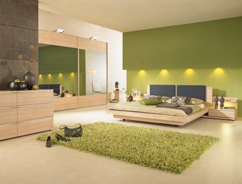 Спальня в природно-зеленых тонах