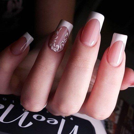 дизайн ногтей фото белый френч