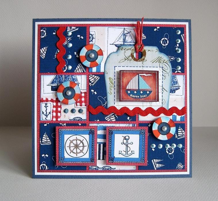 Открытки в морской тематике в стиле скрапбукинг, рождеством объемные