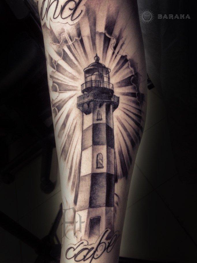 Фаросский маяк татуировка в стиле Чикано на руке
