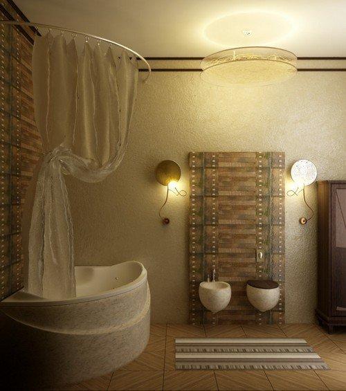 Успехом правильной организации освещения ванной комнаты является размещение его на трех уровнях