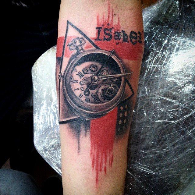 Татуировка трэш полька часы