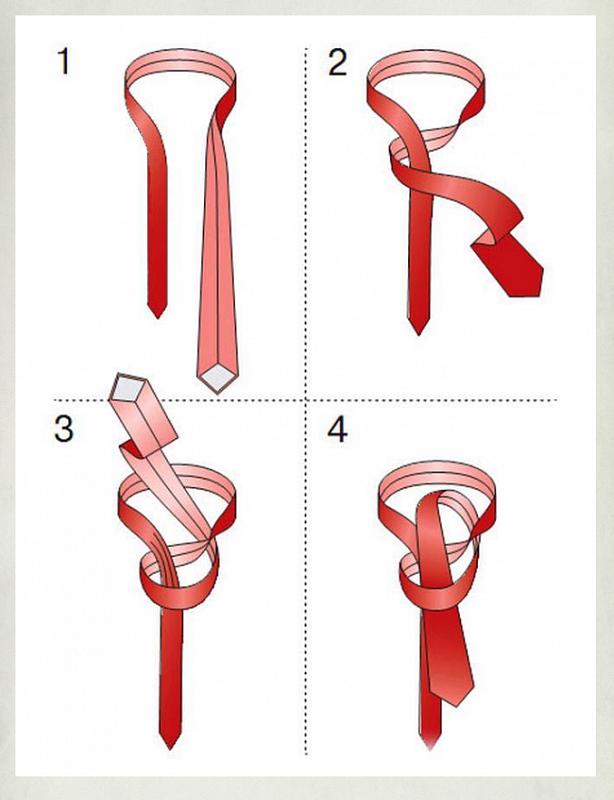 Способы завязывания узкого галстука в картинках