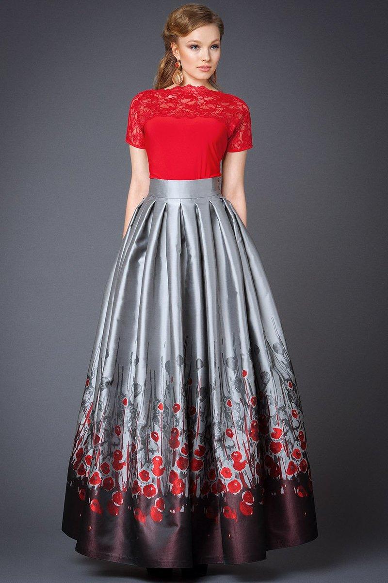 Серая атласная юбка