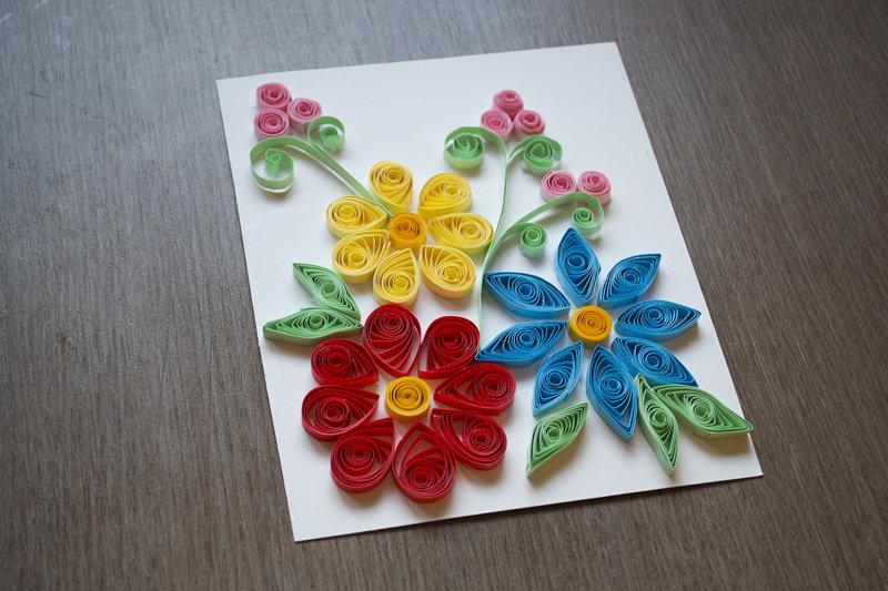 Квиллинг цветы на открытку пошагово, картинки