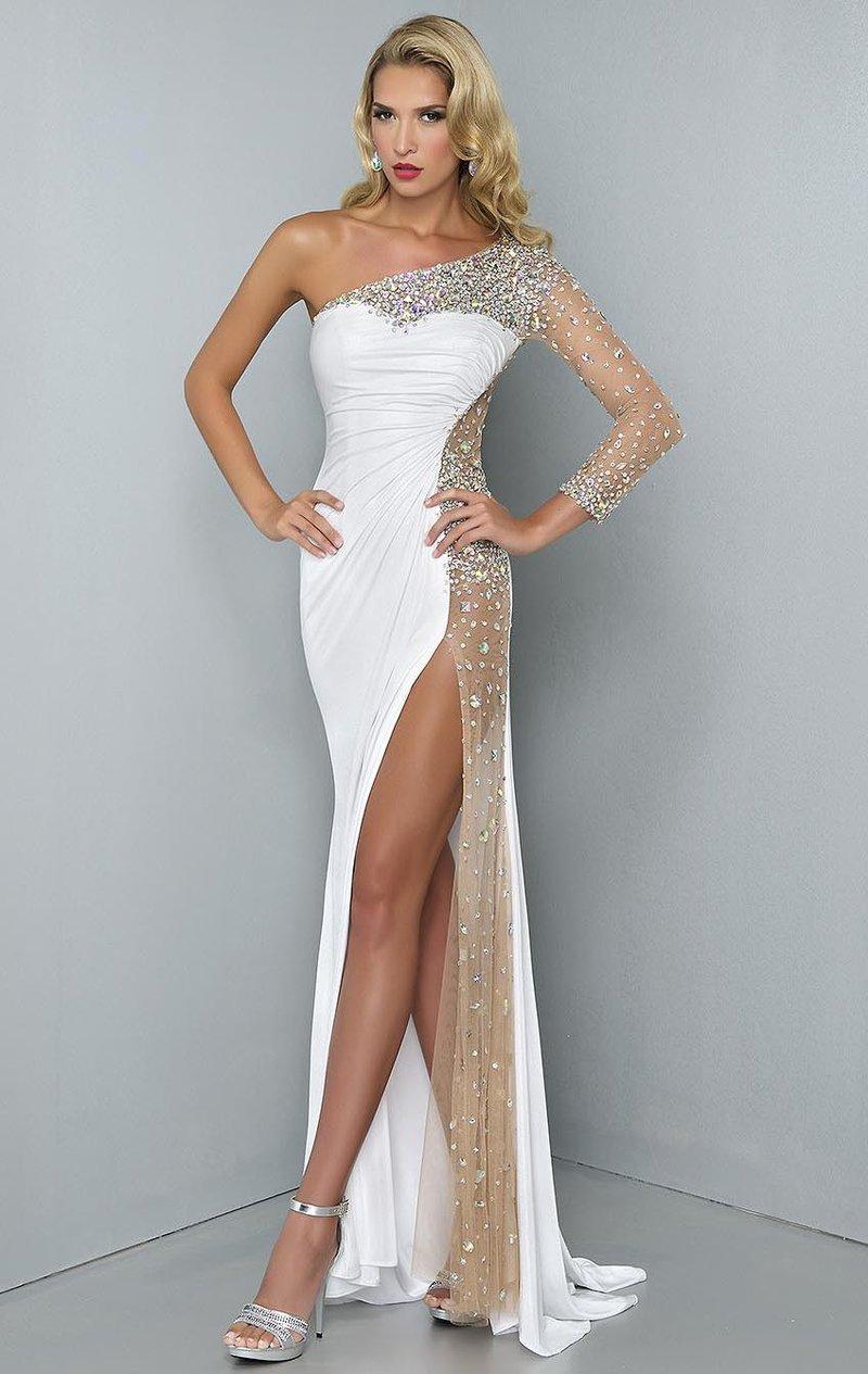 Шикарное полупрозрачное белое платье