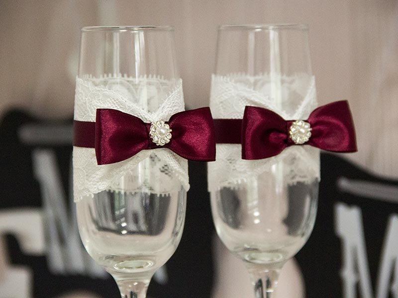 Цвет марсала свадебные бокалы 67