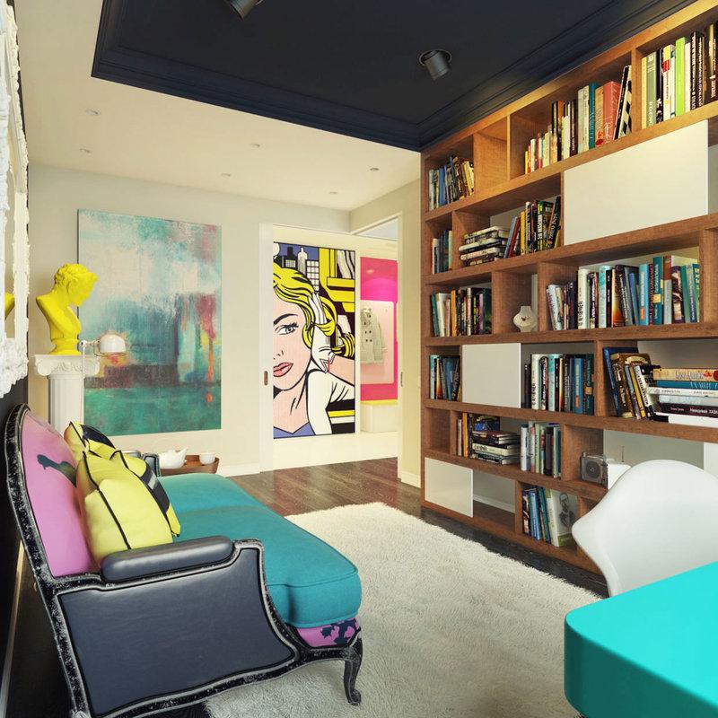 Постеры на стенах, яркость цветовой палитры, сочетание различных размеров и фактур, глянец и пластмасса, зажигательные 60-е, Кока-кола и Мэрилин Монро – все это