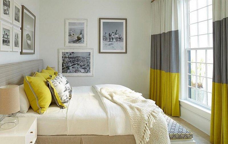 Трехцветные шторы в спальне