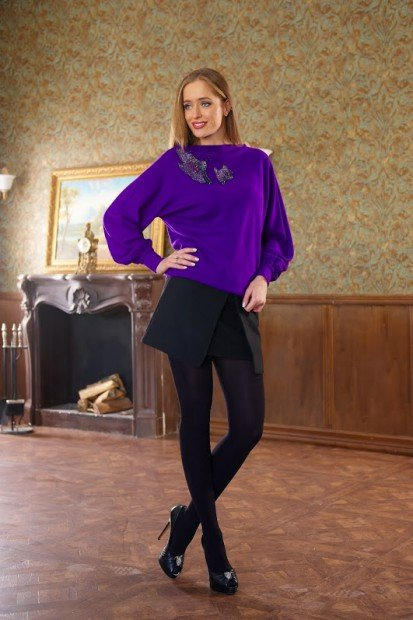 Фиолетовая кофта и юбка