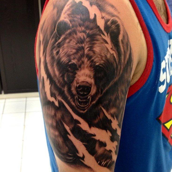 Тату картинки для мужчин на плечо медведя