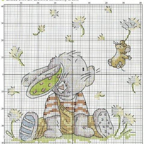 Схема вышивки зайка и мышонок.