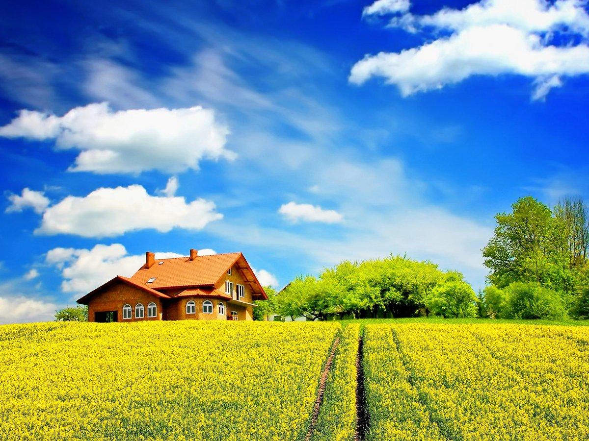 Картинки дом на природе с солнцем, для