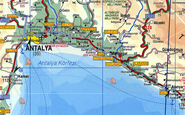 анталия на карте