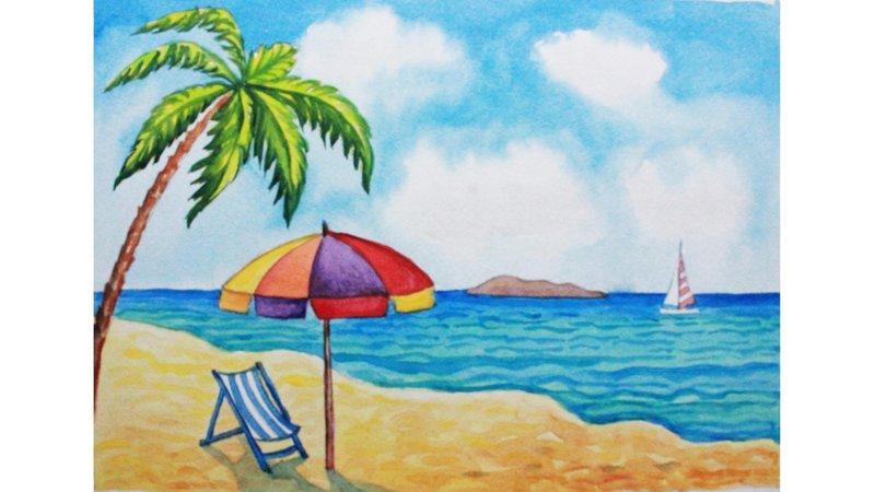 Уроки рисования. Как нарисовать летний пляж акварелью How to Draw ... Как нарисовать летний пляж акварелью How to Draw a Beach Scene