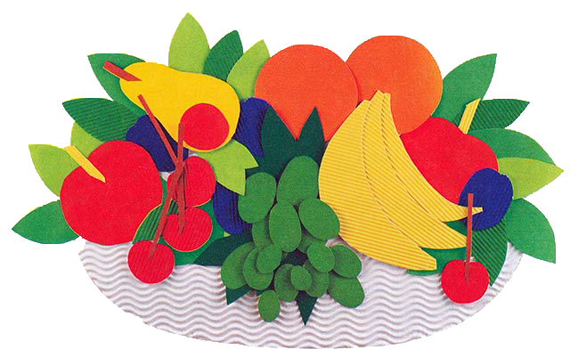 фрукты из цветной бумаги аппликация разделом