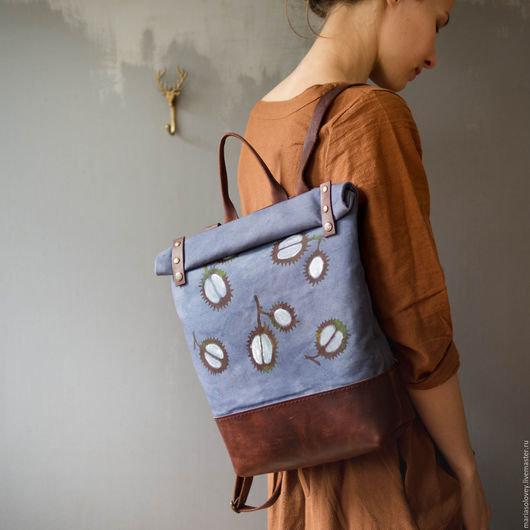 Купить или заказать Текстильно-кожаный рюкзак  Белые каштаны  в интернет- магазине на 5352d502692