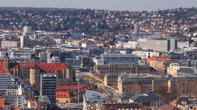 центр города с высоты, Штутгарт