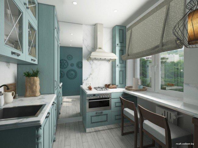 2 интересных дизайнерских решения для 1 маленькой кухни площ.