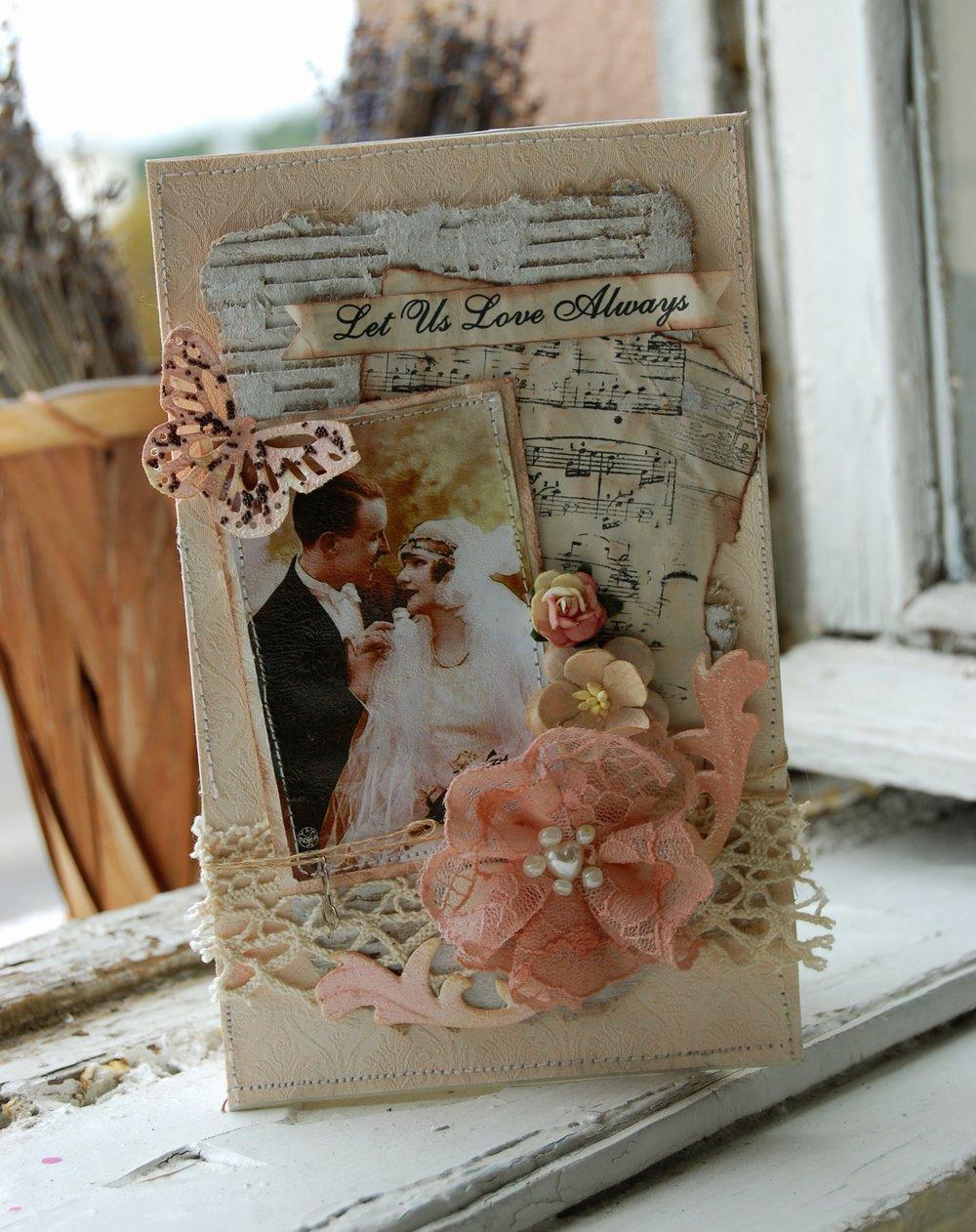 Свадебная открытка скрап с фото, днем матери пожеланием