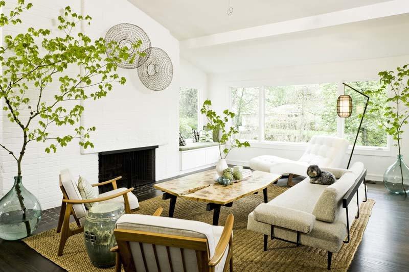 Как выдержанная классика, так и суперсовременный хай-тек создают идеальный тандем с комнатными цветами.