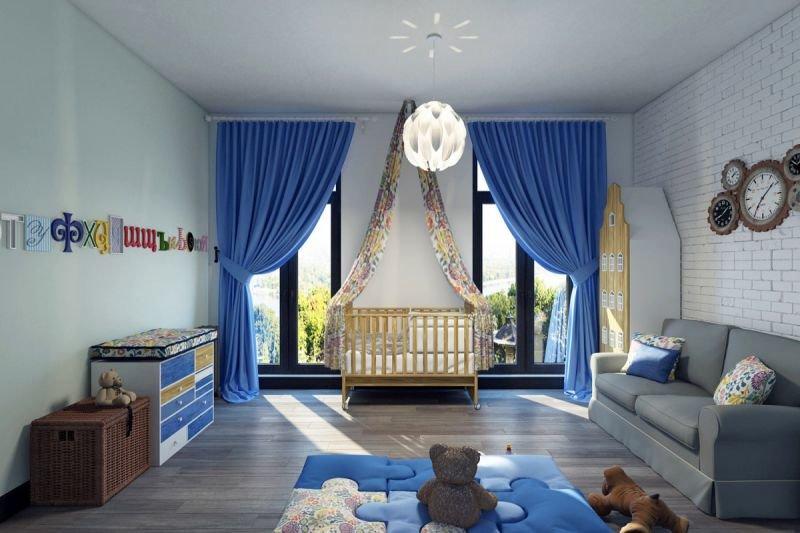 Спальня с кроваткой для мальчика.