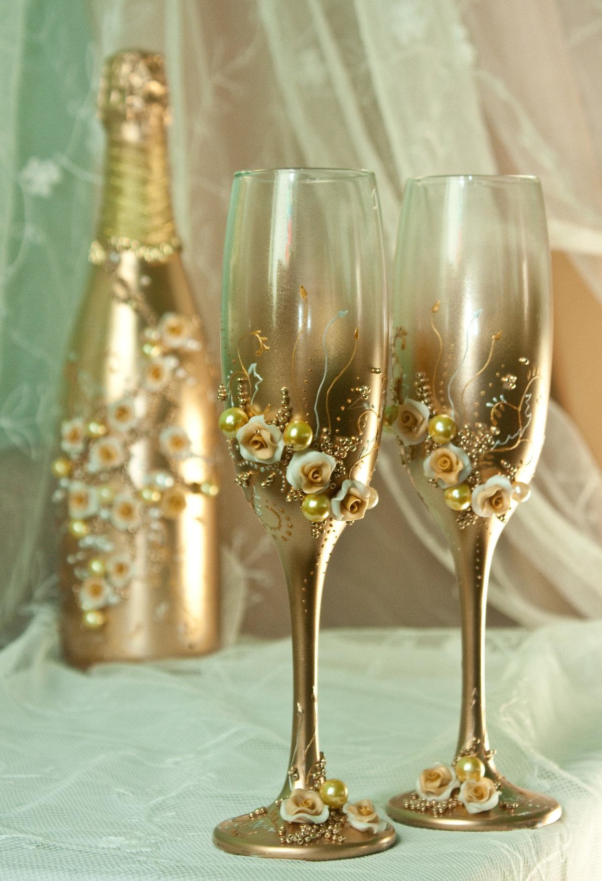 День рождения, картинки свадебные бокалы и шампанское