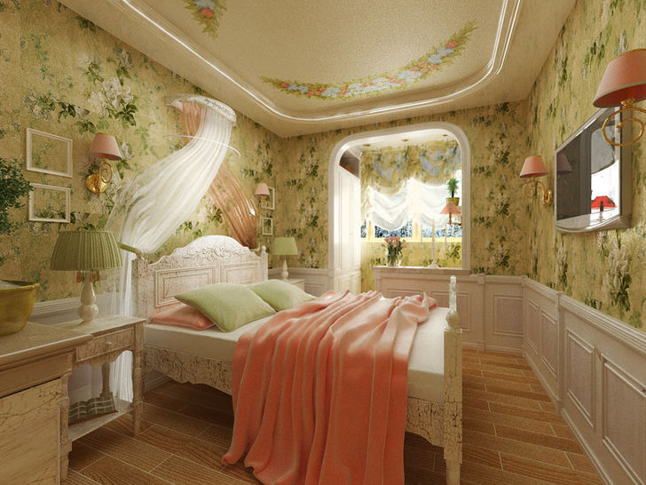 Французский стиль в интерьере Спальня в французском стиле для молодой леди. Необычный дизайнерский  замысел примечателен отделкой стен с цветочным