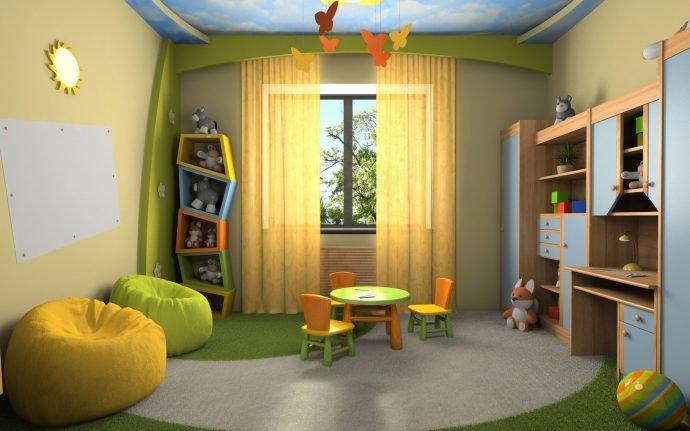 Дизайн интерьера зеленой детской комнаты