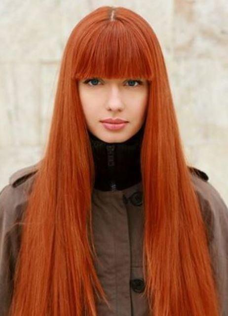 Рыжие волосы с чёлкой