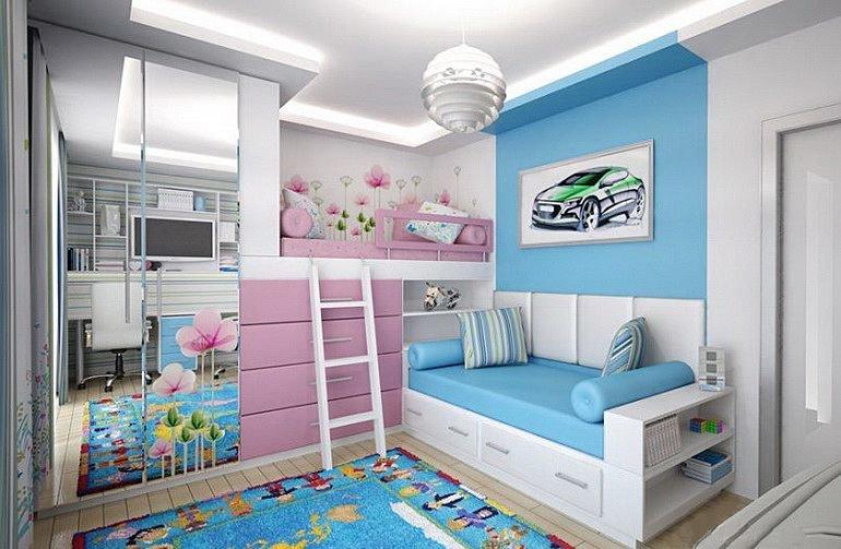 В нашей фотогалерее собрано множество интересных решений по оформлению общей детской, расстановке мебели и декорированию.