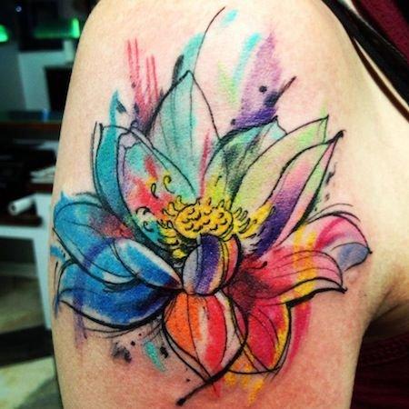 941ccb06e Black cute flower watercolor tattoo - TattooMagz