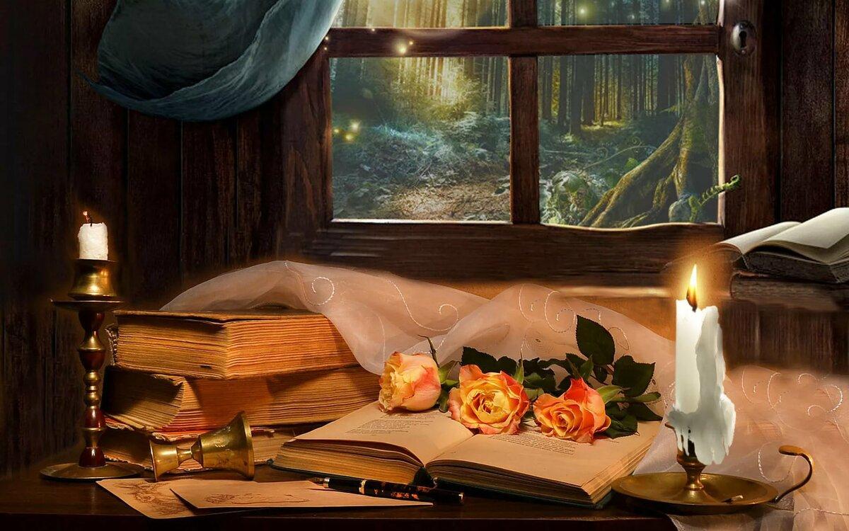 Вечер с книгой картинки анимация