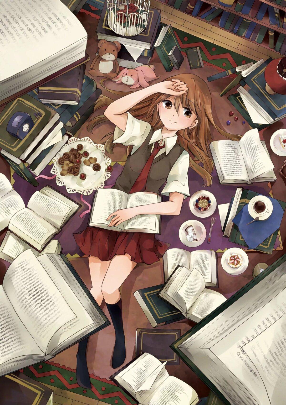 Чтение книги красивые картинки аниме