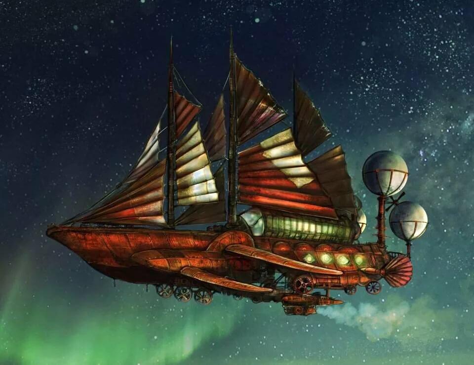 при фэнтези картинки парусные корабли в космосе ружья все
