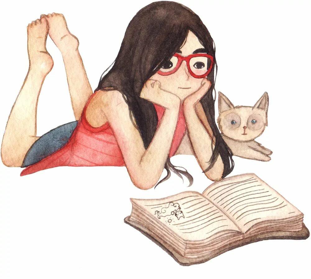 Картинки девушки с книгами для срисовки